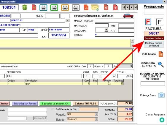 Botón para imprimir factura desde parte - Softmecanicos